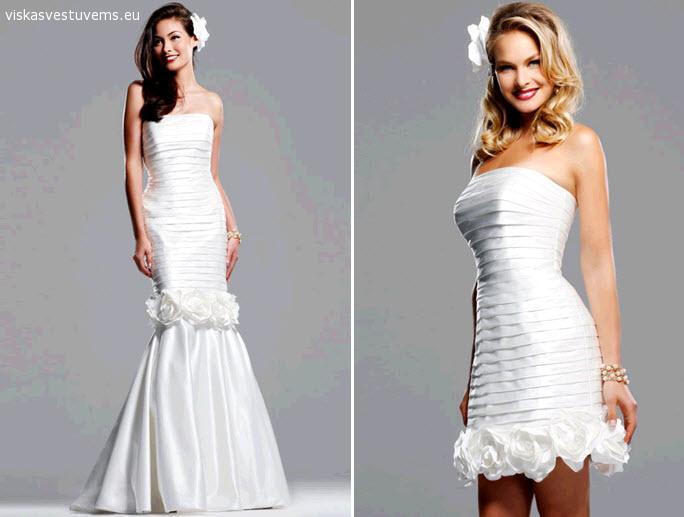 Dviejų dalių vestuvinė suknelė (trumpa/ilga), XS-S dydis