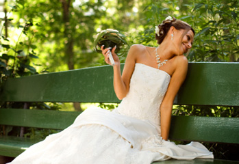 Beautiful Elegant Bride with Bouquet